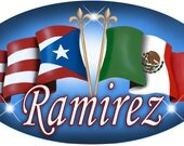 """One Puerto Rican Mexican Unity Flags Vinyl Oval Decal Bumper Sticker 3.5"""" x 6"""" Personalize Gifts Many Colors Latino Puerto Rico Mexico"""