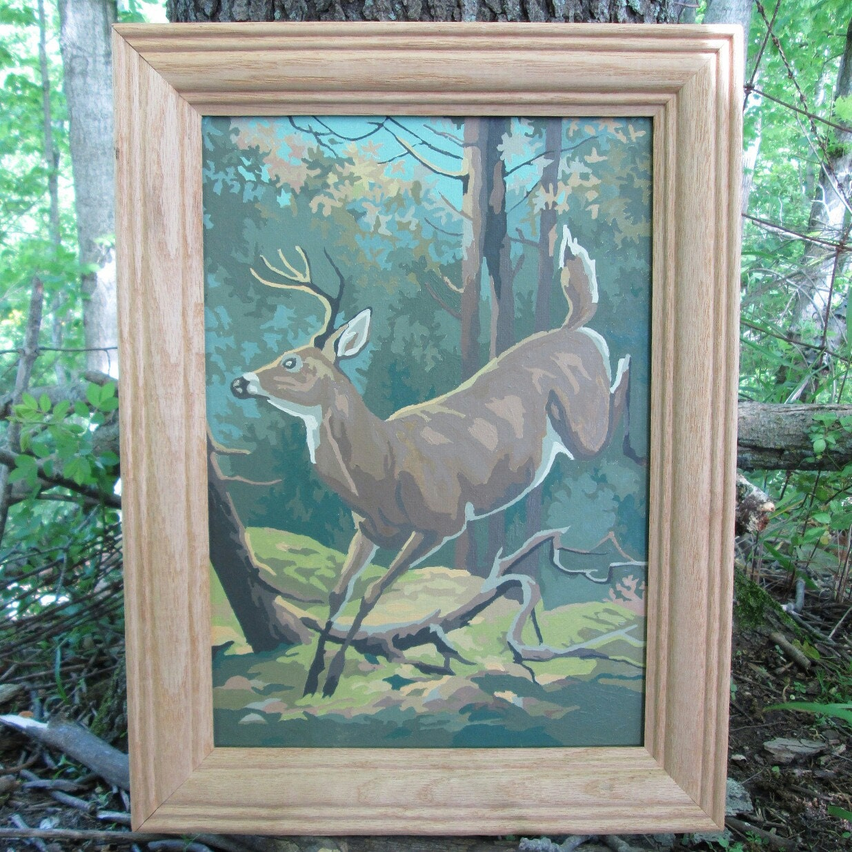 Craft master paint by number kits - Vintage Paint By Number Deer Forest 1969 Craft Master Mid Century Pbn Framed Painting