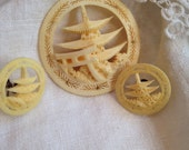 Exquisite Carved Celluloid Pagoda Brooch and Earrings Silver