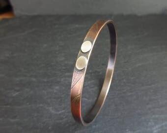 Bronze bangle with sterling silver ovals, leaf vein bracelet, bronze wedding anniversary,  8th anniversary, bangle for men, ladies bangle