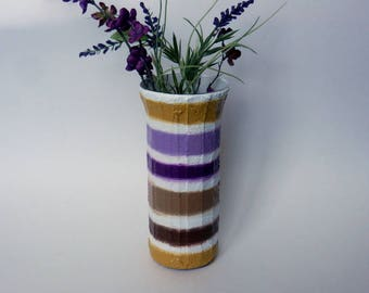 White Mustard Brown Grape purple vase / Seashell Colors / glass stucco concrete vase