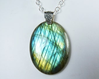 Huge Labradorite Necklace, LARGE Colorful Labradorite Pendant, Bright Turquoise, Aqua, Green, & Gold Flash, Luxurious Sterling Silver Chain