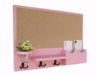 Cork Board Message Center, Mail and Key Holder, Mason Jar, Bulletin Board, Mail Organizer, Letter Holder - Organizer - Coat Rack