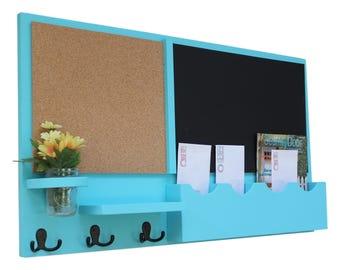 Mail Organizer - Cork Board - Chalkboard - Message Center - Coat Rack - Jar Vase - Wood