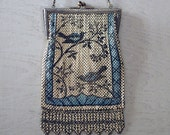 Antique Mandalian Enamel Mesh Purse with Blue Birds - 1920s Art Deco Mesh Metal Reticule