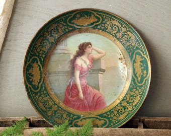 Victorian Tin Lithograph Plate - Antique Portrait Tin Litho Wall Hanging
