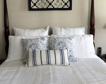 Ocean - New white on white quilt / coverlet 100% cotton machine washable