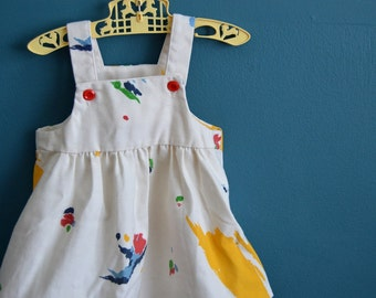 Vintage White Jumper Dress with Color Splotches - Size 3T