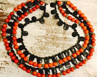 Beautiful Red Sponge Coral Black Onyx Green Labradorite Sterling Silver Vintage Triple Strand  Bib Necklace