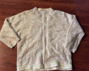 Vintage 60s sequin cropped  cardigan knit with  silk lining