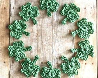 Crochet Shamrocks Set of 10 Crochet Appliques in Light Green St. Patrick's Day