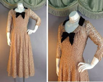 1950s dress vintage 50s MOCHA LACE VELVET coffee and chocolate full skirt fit and flare cocktail party slip and dress