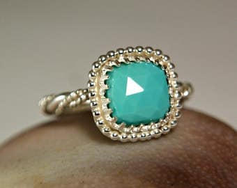 Rose Cut Natural Turquoise Sterling Silver Ring, Square Gemstone Ring for Women, Boho Style Jewelry