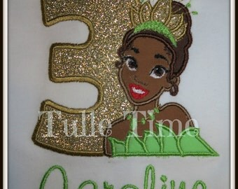Personalized Princess and the Frog Tiana Princess number birthday shirt 1st 2nd 3rd 4th 5th All sizes