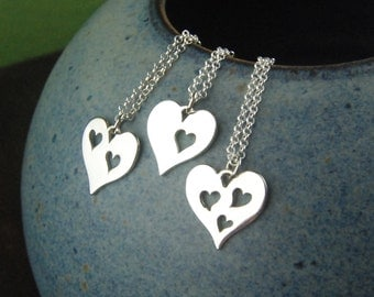 Mother and daughter sterling silver heart necklace set, silver heart charm, mothers love, mother daughter, mother's day