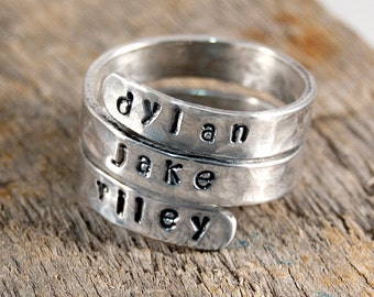Mothers Ring, Personalized Mothers Ring, Personalized Ring, Custom Ring,  Sterling Silver Ring, Gift for her, Stackable Ring