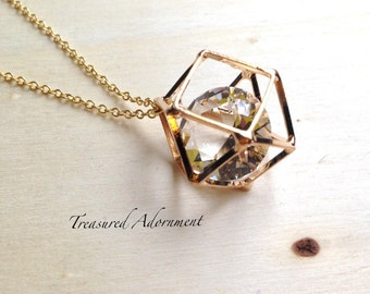 3D Geometric Necklace, Valentine's Day gift, Gold, Minimalistic, gift for her, Birthday gift, Thank you Gift, Gift for teacher