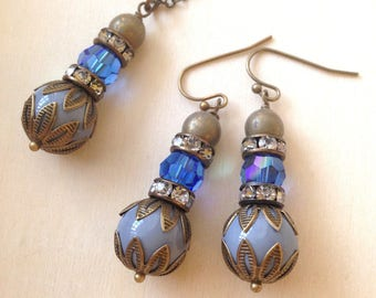 Swarovski Crystal Earrings and Necklace set, Gray Glass Beads, Sapphire AB Swarovski Crystal, Antiqued Brass Filigree Bead Caps, Wedding
