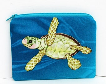 Sea Turtle, Small Zipper Pouch, Turquoise Coin Purse