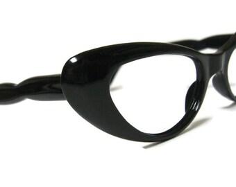 Vintage Black Cateye Eyeglasses Eyewear Frame
