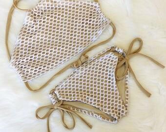 White Mesh halter swimsuit