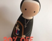 St. Faustina - Wooden Peg Doll