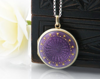 Antique Locket | Sterling Silver & Violet Enamel Edwardian Locket | Purple Locket with Guilloché Enamel, Gilded 925 Silver - 20 Inch Chain