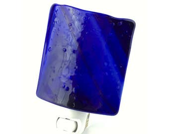 Night Light Plug In, Dark Royal Blue Stained Glass