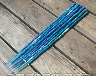 "5DE Crocheted Dreadlock Extensions -- ""Sea Foam"" -- Free Shipping"