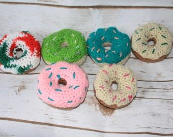 Crochet donuts half dozen- doughnuts- pretend play- imaginative play- sweets- treats- breakfast-sprinkles- cotton- toy- kitchen- play food