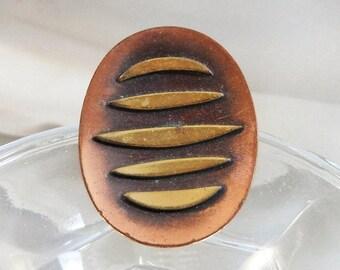 ON SALE Vintage Gold Rhinestone Flower Brooch Large Brushed