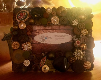 Brown Button Frame ~ Housewarming Gift ~ Gift for Him ~ Gift for Her ~ Rustic Home Decor ~ Bohemian Art - for 4x6 photo