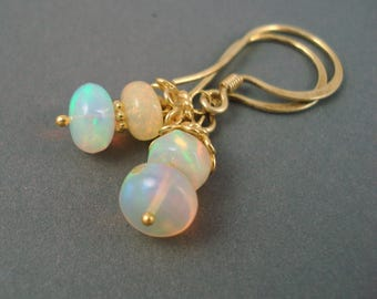 Opal Earrings, Ethiopian Fire Opals and Gold Wires, Colorful Red and Blue Opals