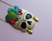 Frida Kahlo Cactus Skull Necklace no. 2