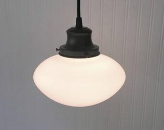 PENDANT Light of Vintage Milk Glass - Flush Mount Chandelier Lighting Ceiling Farmhouse Kitchen Bathroom Lamp Milk by Lamp Goods