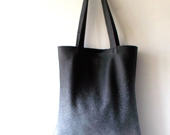 Leather tote, Splash of Color on leather ,  Black and White