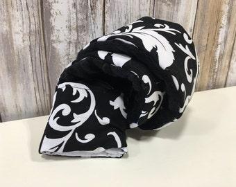 Camera Strap Cover in Black & White Floral