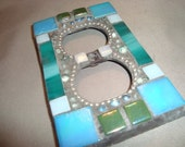 MOSAIC Electrical Outlet COVER , Wall Plate, Wall Art, Turquoise, Teal, Silver