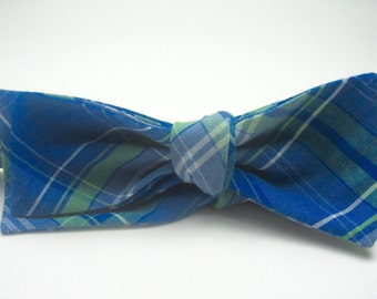 Blue Plaid Bow Ties Plaid Bow Ties Blue and Green Bow Ties Mens Bow Ties Boys Bow Ties Custom Bow Ties Wedding Bow Ties