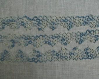 Vintage Lace Trim Antique Lace Trim Tatting Blue