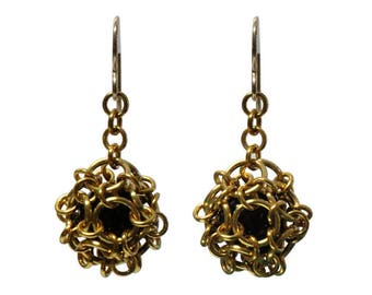 Chainmail Earrings - 40mm length - intricate gold colored chainmail cage with black onyx ball - gold filled earwires