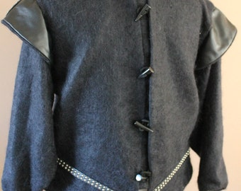 """Chest 48""""  Black Leather and Mohair Tudor Renaissance Medieval Mens Lords Doublet Game of Thrones Jacket"""