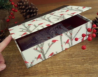 Handmade Greeting Card Box, Holiday Treasure Box, Christmas Card Storage, Ornament Storage Box, Decorative Box, Card Organizer, Card Display