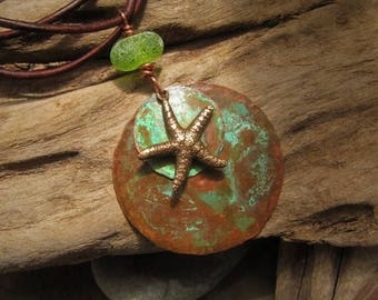 Copper Jewelry Pendant Patina Medallion with Starfish and Lampwork Seaglass  Bead