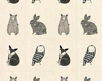 Thicket Bear Rabbit Fox and Owl Sketched on Fabric Gingiber Designs Home Dec for MODA