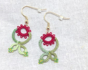 Red Flower Earrings-Green Leaf-Lace Earring-Lightweight Jewelry-Spring Flowers-Gift For Her-Mom-Mothers Day Gift-Lacy Accessory-Unique Ear