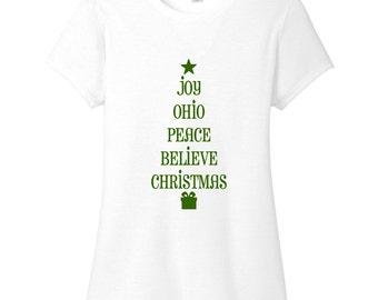 Ohio Christmas Tree - Christmas Women's Fitted T-Shirt