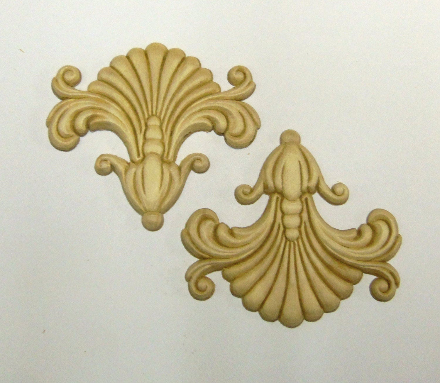 FREE SHIPPING 8 Wood Appliques lays Set of 8 Birch Embossed