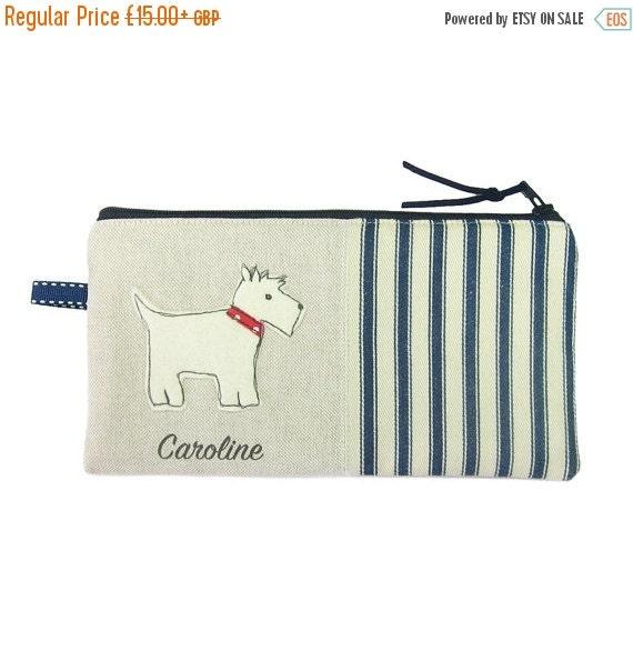 ON SALE Pencil Case, Scottie Dog Pencil Case, Personalised Pencil Case, Pencil Holder, Pencil Bag, Scotty Dog