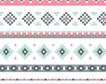 Aztec Crib Sheet-Fitted Sheet-Crib Bedding-Art Gallery Fabric- Mint-Gray-Pink-Diaper Changing Pad Cover-Mini Sheet